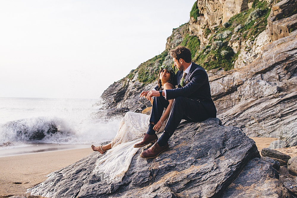 Dipti & Rob's Bohemian Beach Wedding – Lusty Glaze Beach Weddings – Newquay – Cornwall