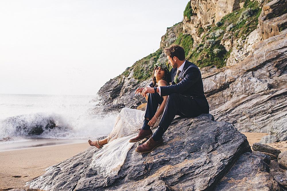 Dipti & Rob's Bohemian Beach Wedding – Lusty Glaze Beach Weddings – Newquay – Cornwall